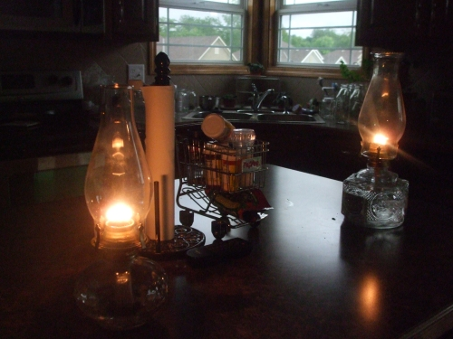 oil hurricane lamps in a kitchen