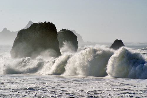 Waves crashing on a beach